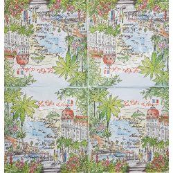 Szalvéta, városok, 32x32 cm, Monaco, 1 darab