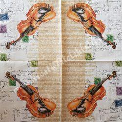 Szalvéta, zene, hegedű, 33x33 cm (1)