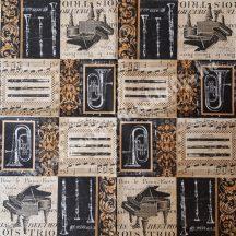 Szalvéta, zene, hangszerek, 32x32 cm, 1 darab
