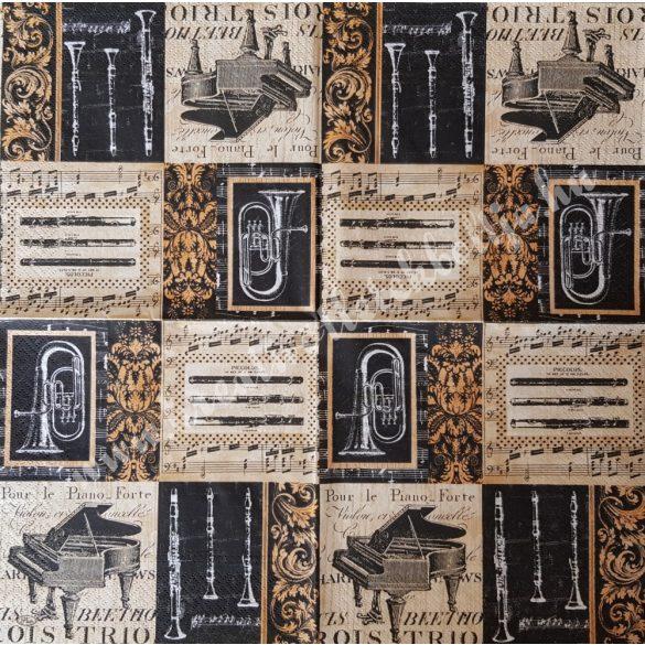 Szalvéta, zene, hangszerek, 33x33 cm (3)