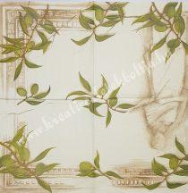 Szalvéta, zöldségek, oliva, 32x32 cm, 1 darab