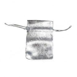 Szaténtasak, ezüst, 5x7 cm
