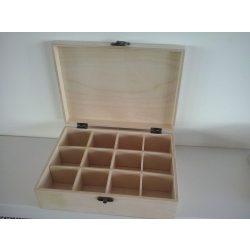 Teafilteres doboz, 12 rekeszes, 25x18,5x8 cm