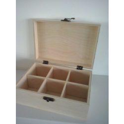 Teafilteres doboz, 6 rekeszes, 19,5x13,5x8 cm