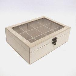 Teafilteres doboz, üveges, 12 rekeszes, 25x18,5x8 cm