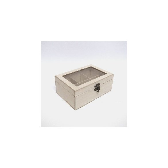 Teafilteres doboz, üveges, 6 rekeszes, 19,5x13x5x8 cm