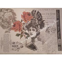 Textiltranszfer, vintage, hölgy rózsákkal, 25x35 cm