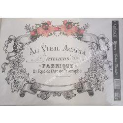 Textiltranszfer, szöveg rózsákkal, 25x35 cm