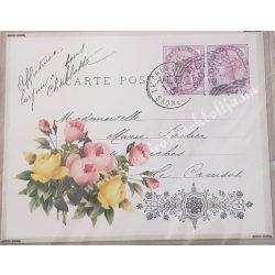 Textiltranszfer, képeslap virággal, 25x35 cm