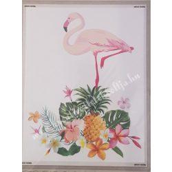 Textiltranszfer, flamingó, trópusi mintával, 25x35 cm
