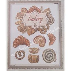 Textiltranszfer, péksütemény, 25x35 cm