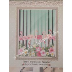 Textiltranszfer, flamingó, 17x25 cm