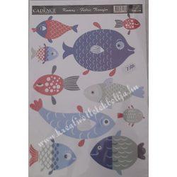 Textiltranszfer, hal, 17x25 cm