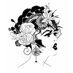 Textiltranszfer, rózsák a hajban, 21x30 cm