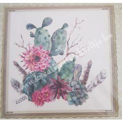 Textiltranszfer, kaktusz, 43x43 cm