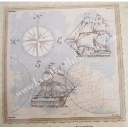 Textiltranszfer, tenger mintás, 43x43 cm