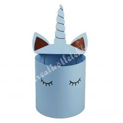 Unikornis díszdoboz, kék, 19x21 cm (fülekkel összesen: 42,5 cm)