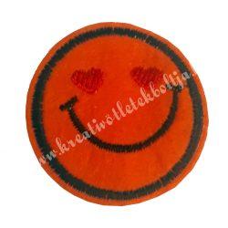 Vasalható matrica, Smiley, Narancs színű, Szívecskés szemmel,45mm