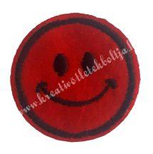 Vasalható matrica, Smiley, Piros színű, 45mm