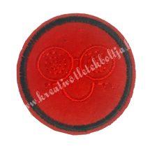 Vasalható matrica, Smiley, Piros színű, Piros hímzéssel, 45mm