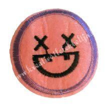 Vasalható matrica, Smiley, Rózsaszínű, X szemmel, 45mm
