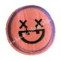 Vasalható matrica, Smiley, X szemmel, 4,5 cm