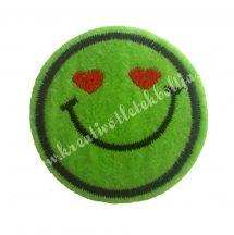 Vasalható matrica, Smiley, Zöld színű, Szívecskés szemmel,45mm