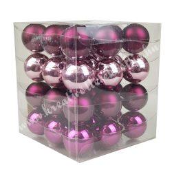 Karácsonyfadísz, üveggömb, vegyes lila, fényes, 36 db/doboz
