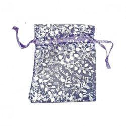Virágmintás organzatasak, lila, ezüst, 7x9 cm