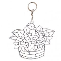 Festhető forma matricafestékhez, (kulcstartó), virágos kosár, 12x10 cm