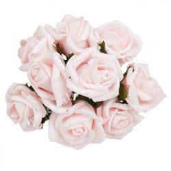 Pick polifoam rózsa, babarózsaszín, 9 szál/csokor, kb. 3,5 cm