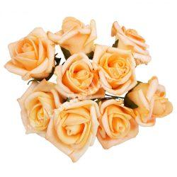 Pick polifoam rózsa, barack, 9 szál/csokor, kb. 3,5 cm