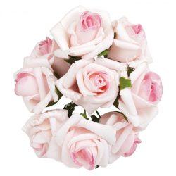 Pick polifoam rózsa, cirmos rózsaszín, 9 szál/csokor, kb. 3,5 cm