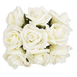 Pick polifoam rózsa, fehér, 9 szál/csokor, kb. 3,5 cm