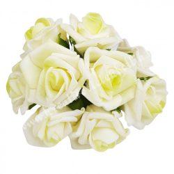Pick polifoam rózsa, fehér-lime, 9 szál/csokor, kb. 3,5 cm