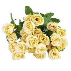Rózsacsokor, krém, kb. 35 cm, 9 ág/csokor