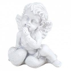 Polyresin angyalka szívvel, ülő, fehér, 5,5x6 cm