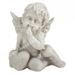 Polyresin angyalka szívvel, ülő, szürke, 5,5x6 cm