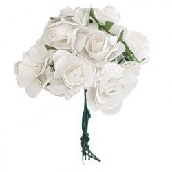 Papír rózsacsokor, fehér, 12 szál/csokor