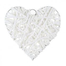 Akasztós dísz, szív, fehér, papírzsinóros, 19,5x19 cm