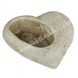 Rusztikus kőkaspó, szív alakú, 15x4,5 cm