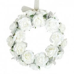 Virágkoszorú, papír, fehér, 15 cm