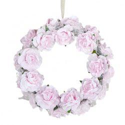 Virágkoszorú, papír, rózsaszín, 15 cm
