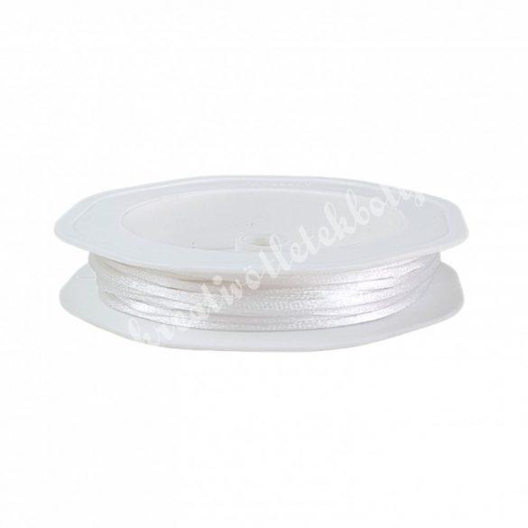 Szatén zsinór, fehér, 2 mm