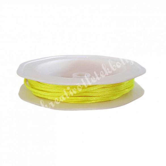 Szatén zsinór, neon sárga, 2 mm